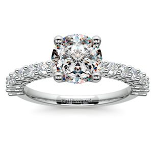 Shared Prong Diamond Engagement Ring in White Gold (1/2 ctw)