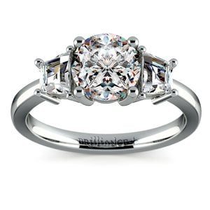 Trapezoid Diamond Engagement Ring in White Gold (1/2 ctw)