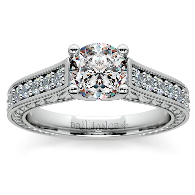 Antique Floral Diamond Engagement Ring in Platinum (1/2 ctw) | 01