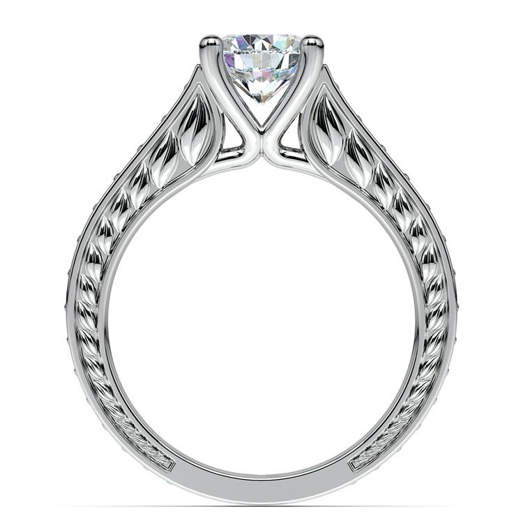 Antique Floral Diamond Engagement Ring in Platinum (1/2 ctw) | 02