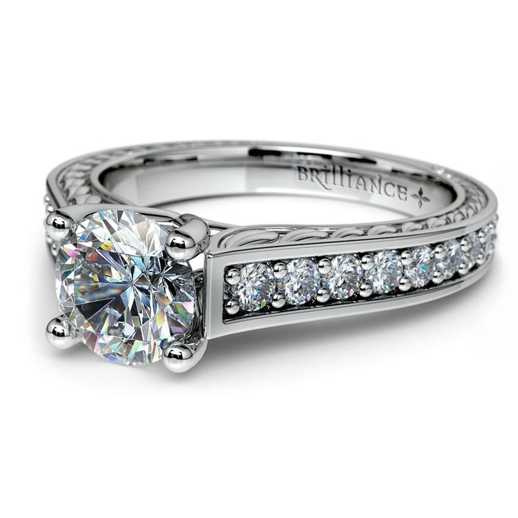 Antique Floral Diamond Engagement Ring in Platinum 1 2 ctw