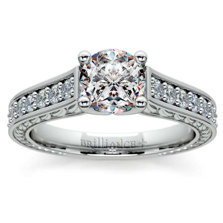 Antique Floral Diamond Engagement Ring in White Gold (1/2 ctw) | 01