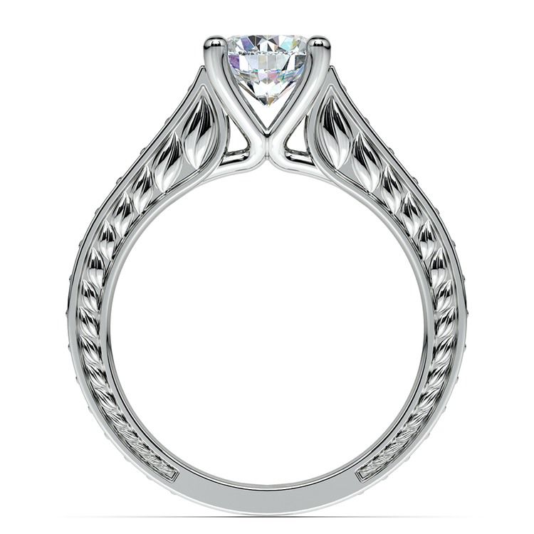 Antique Floral Diamond Engagement Ring in White Gold (1/2 ctw) | 02