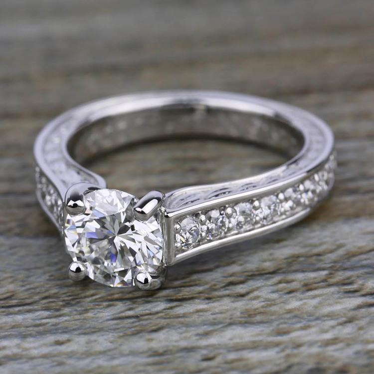 Antique Floral Diamond Engagement Ring in Platinum (1/2 ctw) | 05