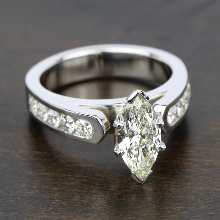 Cathedral Diamond Engagement Ring with Channel Setting in White Gold | 05