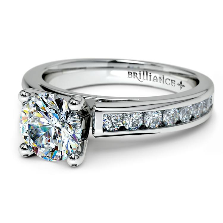 Channel Cathedral Diamond Engagement Ring in Platinum (1/2 ctw) | 04