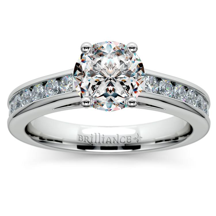 Channel Cathedral Diamond Engagement Ring in White Gold (1/2 ctw) | 01