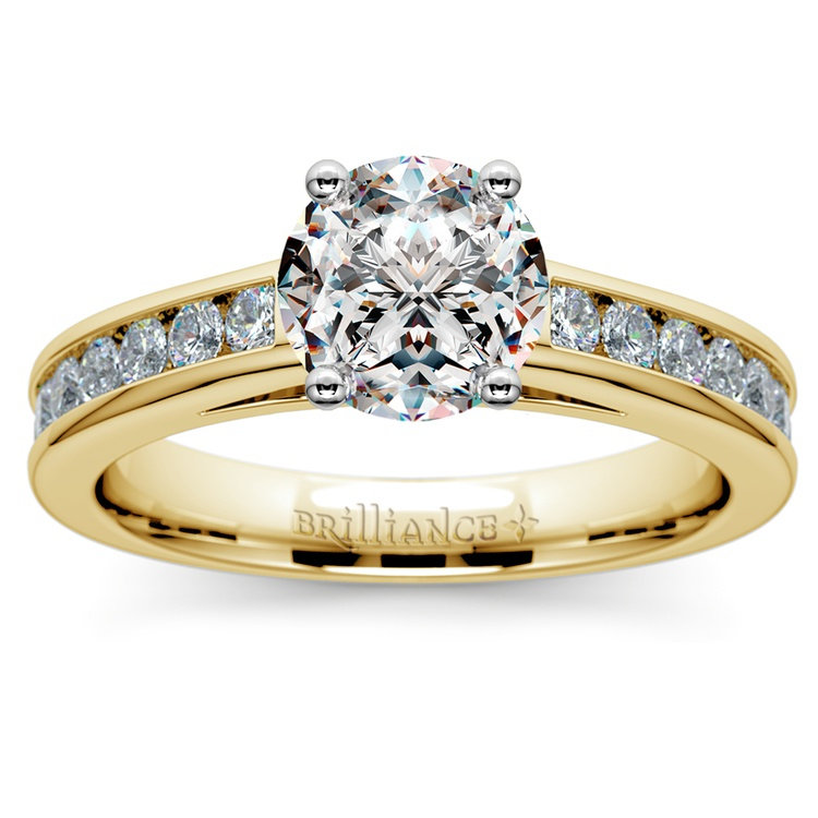 Channel Cathedral Diamond Engagement Ring in Yellow Gold (1/2 ctw) | 01