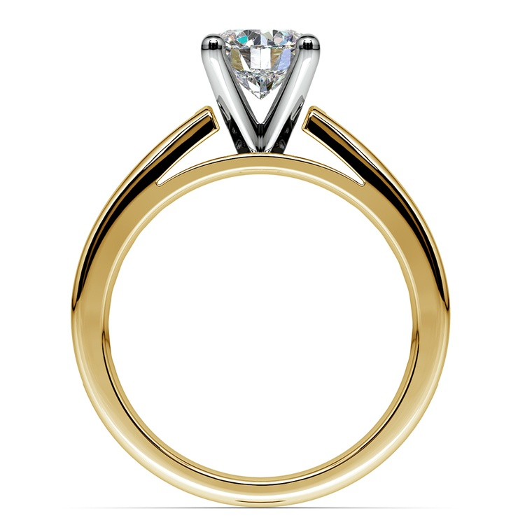 Channel Cathedral Diamond Engagement Ring in Yellow Gold (1/2 ctw) | 02