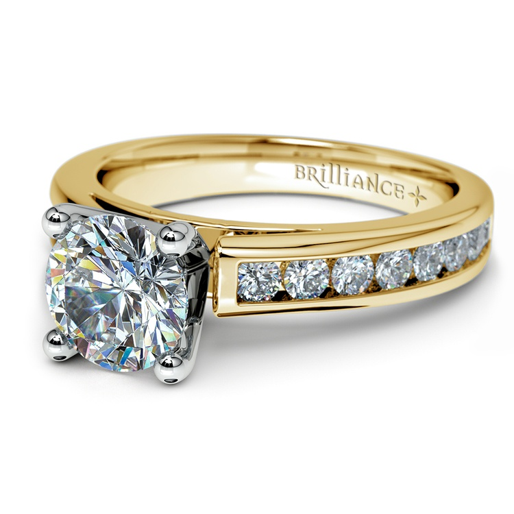 Channel Cathedral Diamond Engagement Ring in Yellow Gold (1/2 ctw) | 04