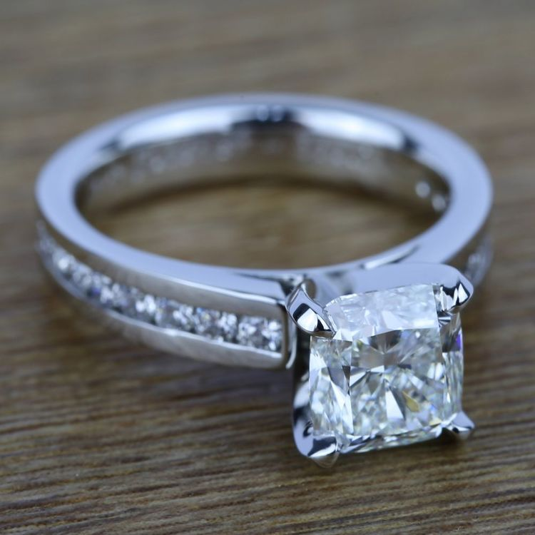 Channel Cathedral Diamond Engagement Ring in Platinum (1/2 ctw) | 05
