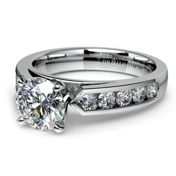 Cathedral Diamond Engagement Ring with Channel Setting in Platinum | 04
