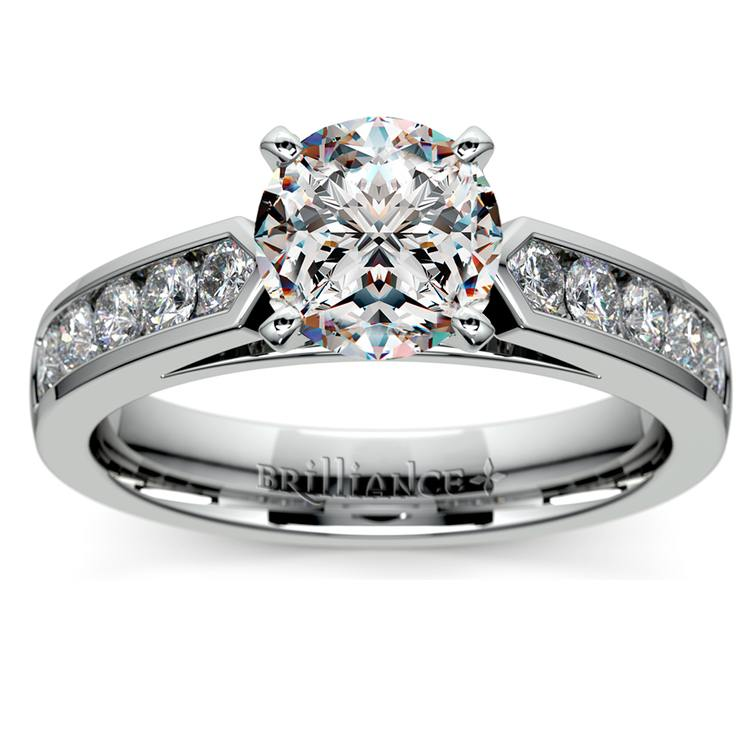 Cathedral Diamond Engagement Ring with Channel Setting in White Gold | 01