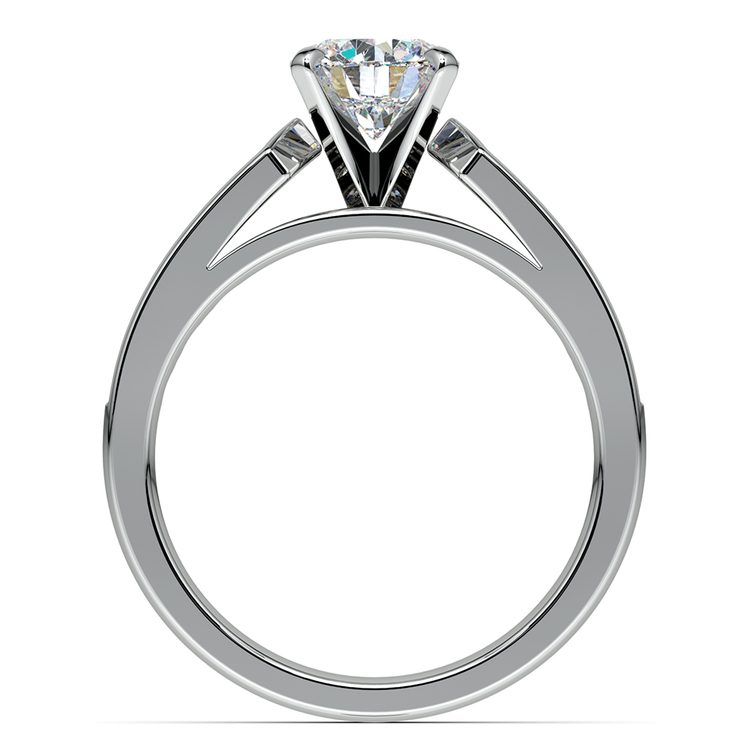 Cathedral Diamond Engagement Ring with Channel Setting in White Gold | 02