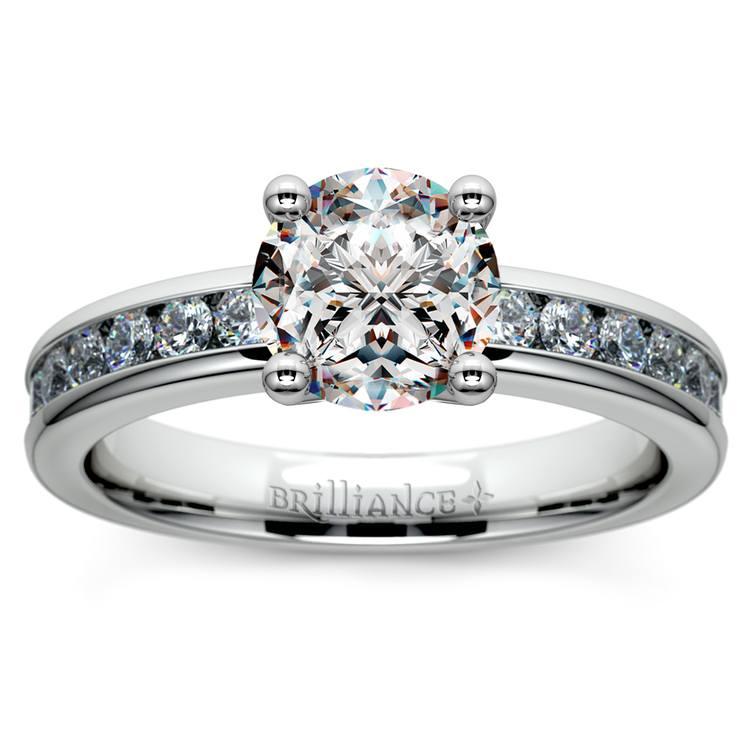 Channel Diamond Engagement Ring in Palladium (1/2 ctw)   01