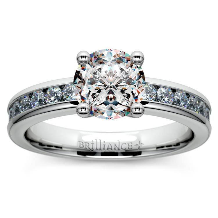 Channel Diamond Engagement Ring in White Gold (1/2 ctw) | 01