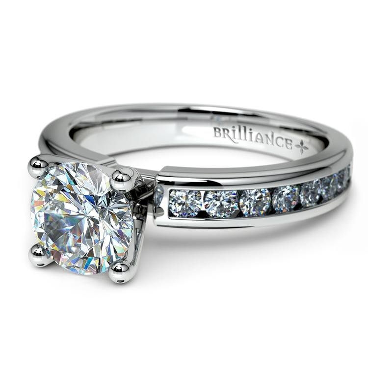 Channel Diamond Engagement Ring in White Gold (1/2 ctw) | 04