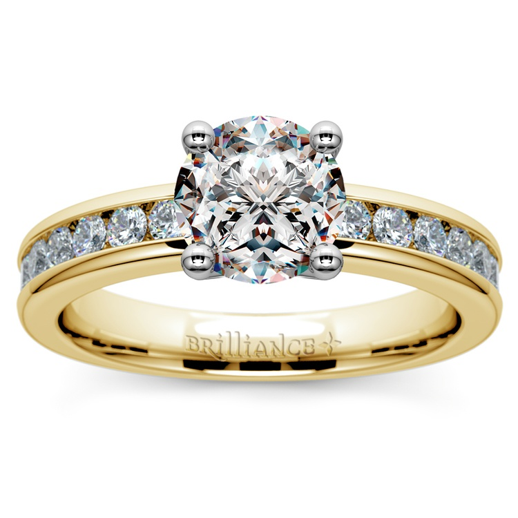 Channel Diamond Engagement Ring in Yellow Gold (1/2 ctw)   01