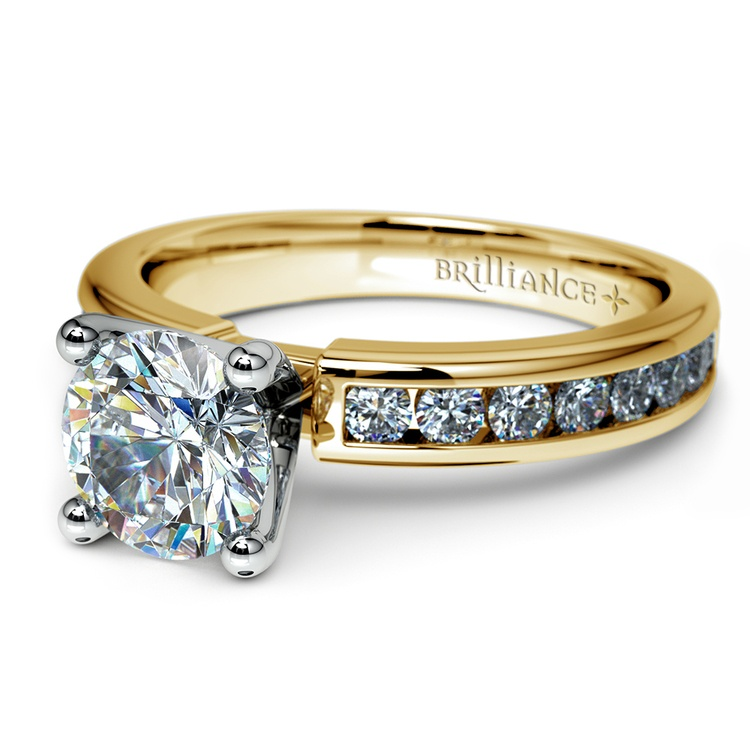 Channel Diamond Engagement Ring in Yellow Gold (1/2 ctw)   04