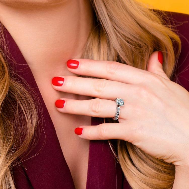 Channel Diamond Engagement Ring in Platinum (1/2 ctw) | 06