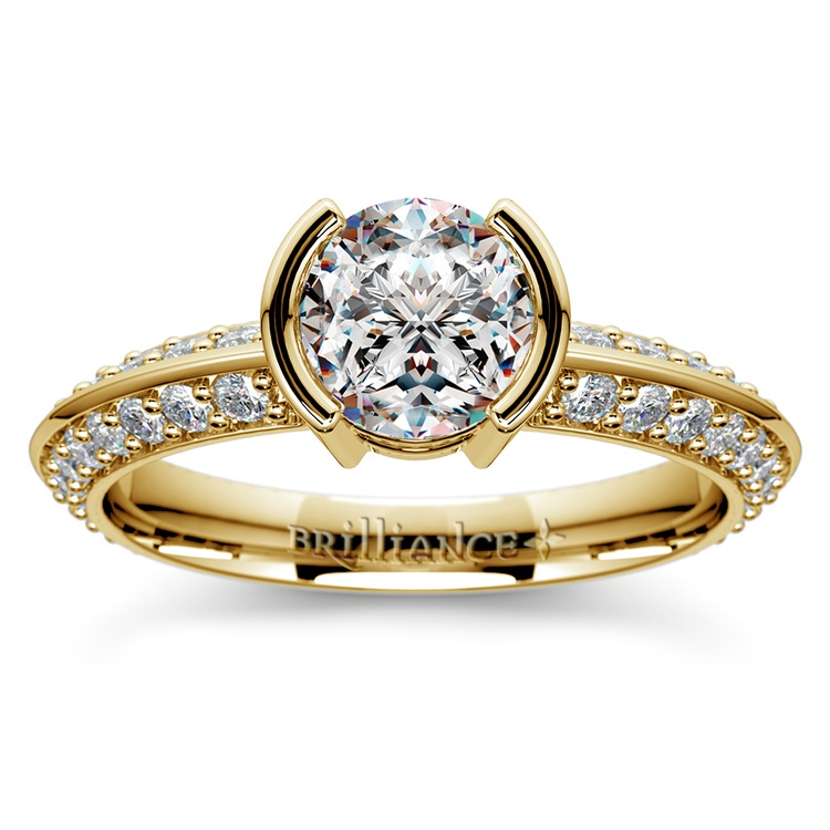 Half Bezel Knife Edge Diamond Engagement Ring in Yellow Gold | 01