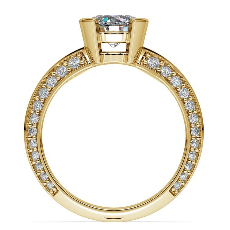 Half Bezel Knife Edge Diamond Engagement Ring in Yellow Gold | 02