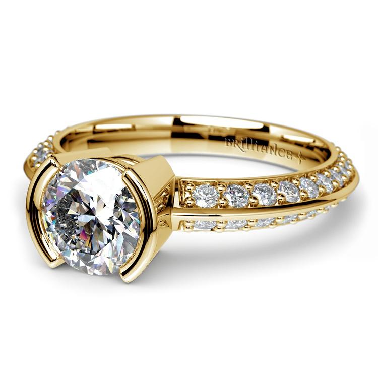 Half Bezel Knife Edge Diamond Engagement Ring in Yellow Gold | 04