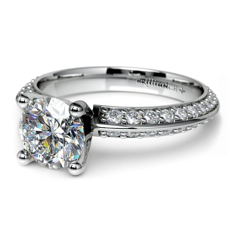 Knife Edge Diamond Engagement Ring in Platinum (1/2 ctw) | 04