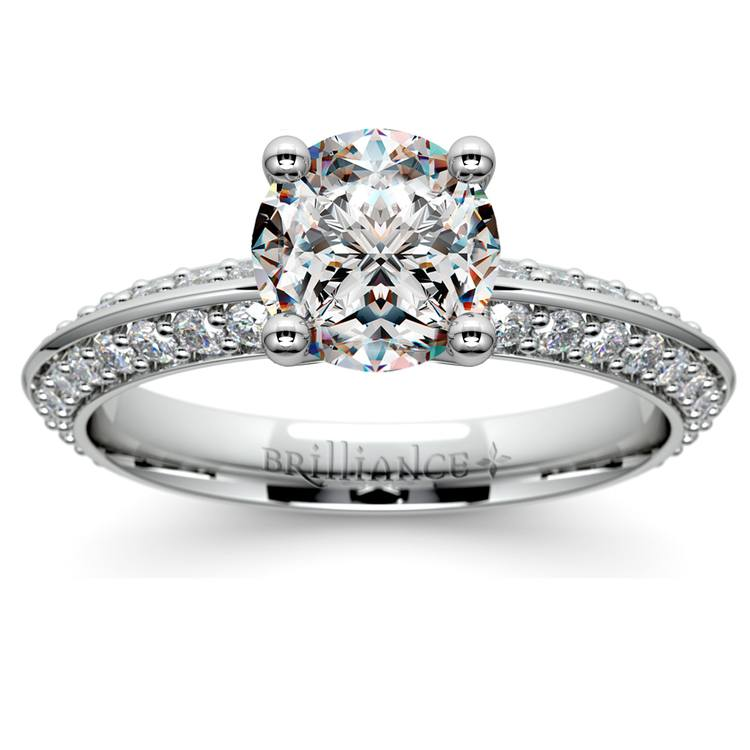 Knife Edge Diamond Engagement Ring in White Gold (1/2 ctw) | 01