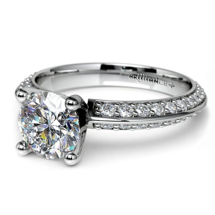 Knife Edge Diamond Engagement Ring in White Gold (1/2 ctw) | 04