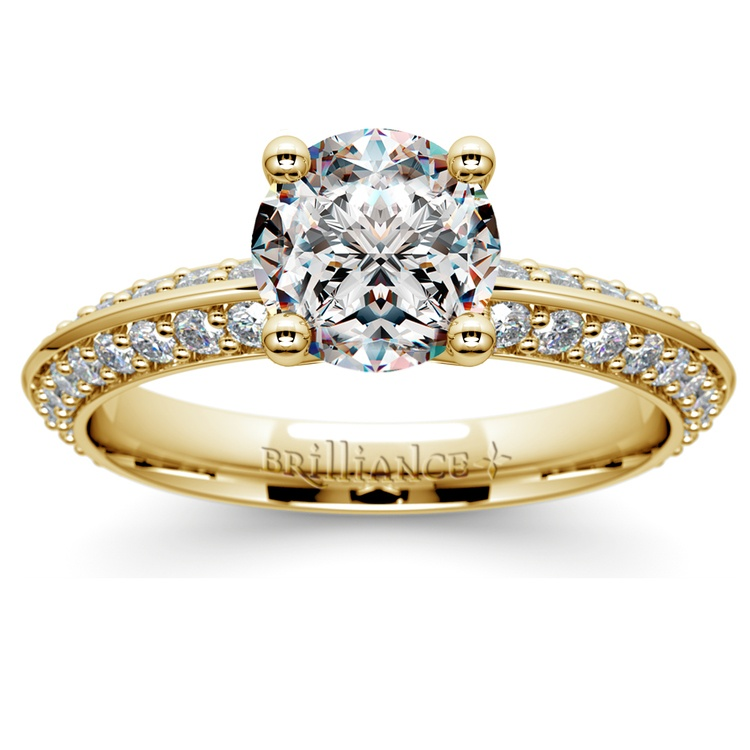 Knife Edge Diamond Engagement Ring in Yellow Gold (1/2 ctw) | 01