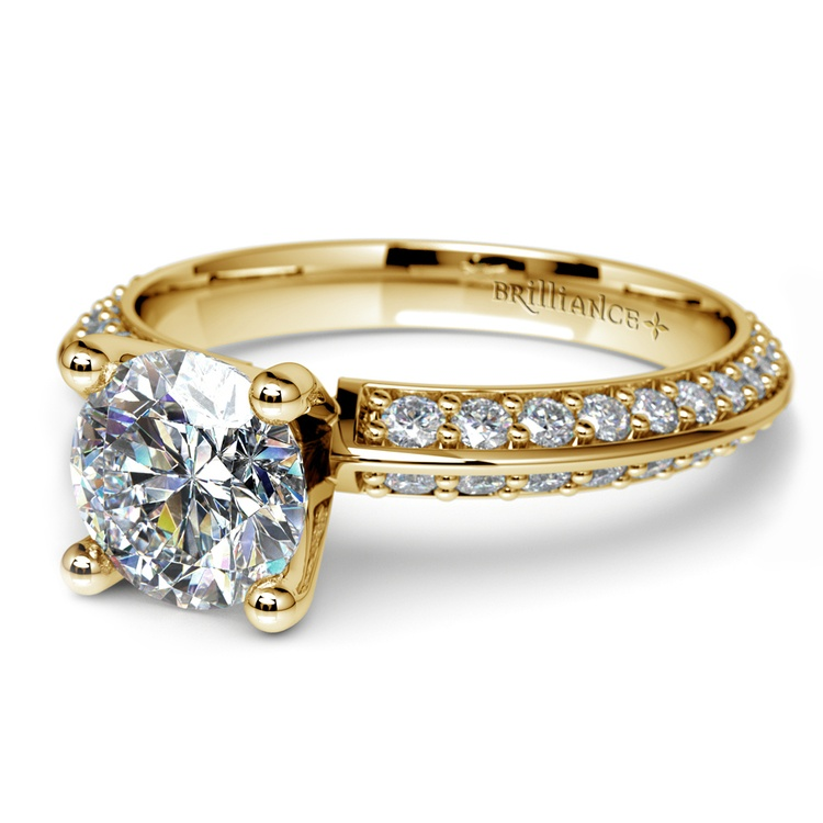 Knife Edge Diamond Engagement Ring in Yellow Gold (1/2 ctw) | 04