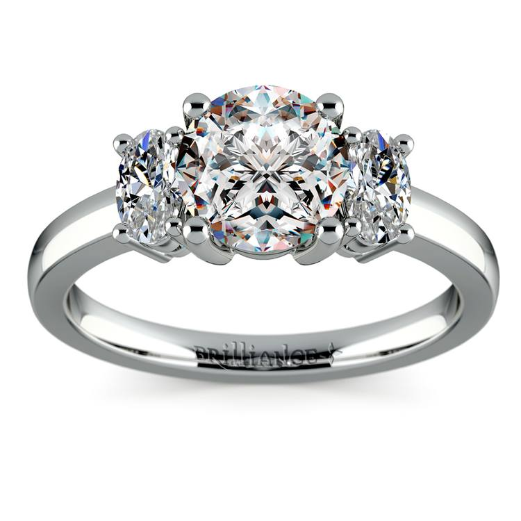 Oval Diamond Engagement Ring in White Gold (1/2 ctw) | 01