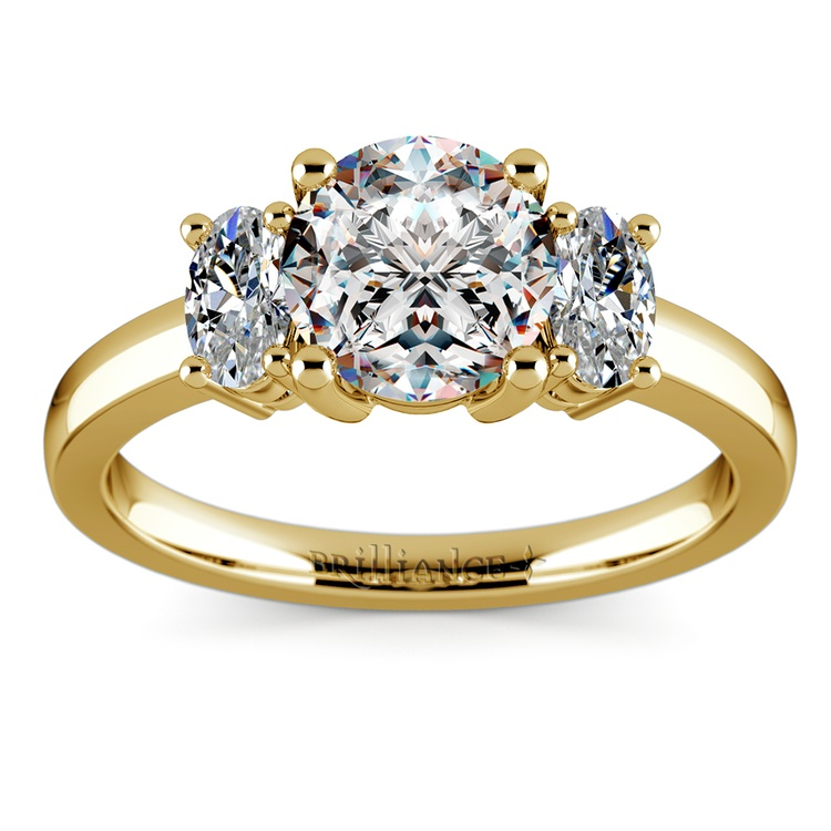Oval Diamond Engagement Ring in Yellow Gold (1/2 ctw) | 01