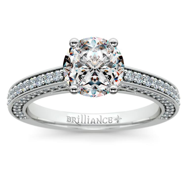 Pave Three Sided Diamond Engagement Ring in White Gold (1/2 ctw) | 01