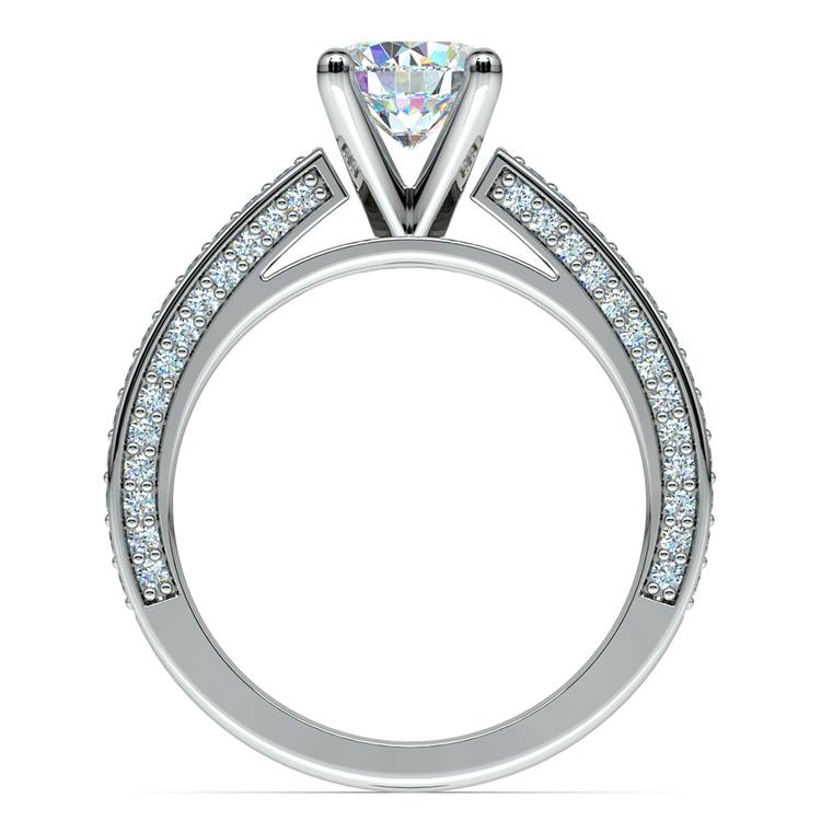 Pave Three Sided Diamond Engagement Ring in White Gold (1/2 ctw) | 02