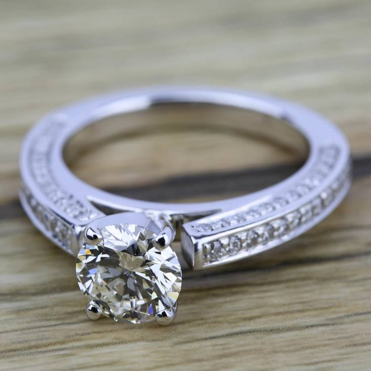 Pave Three Sided Diamond Engagement Ring in White Gold (1/2 ctw) | 05