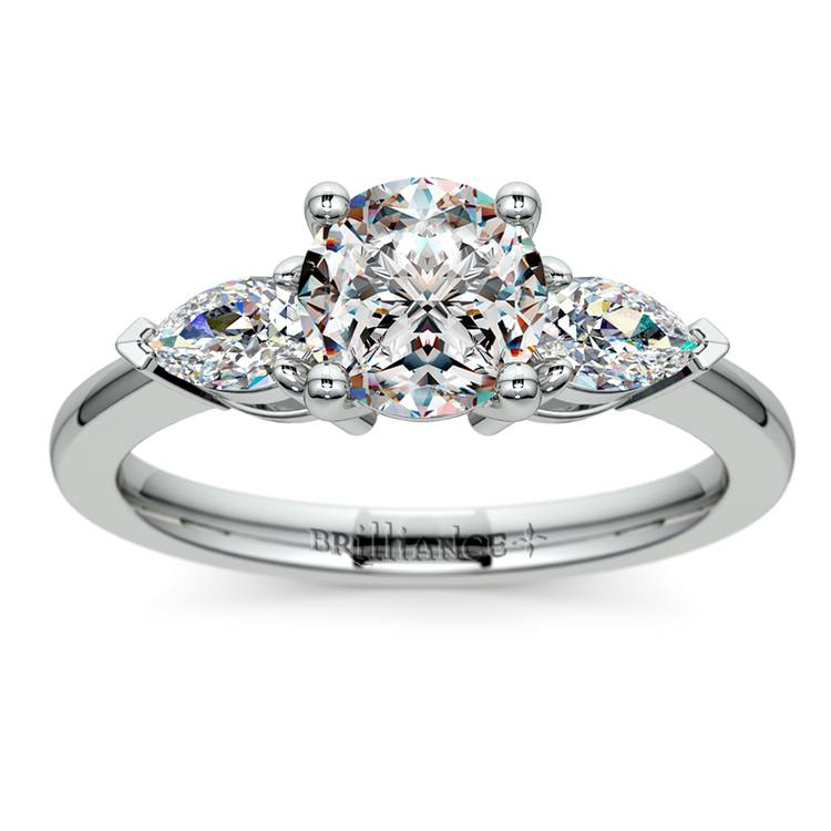 Pear Diamond Engagement Ring in White Gold (1/2 ctw) | 01