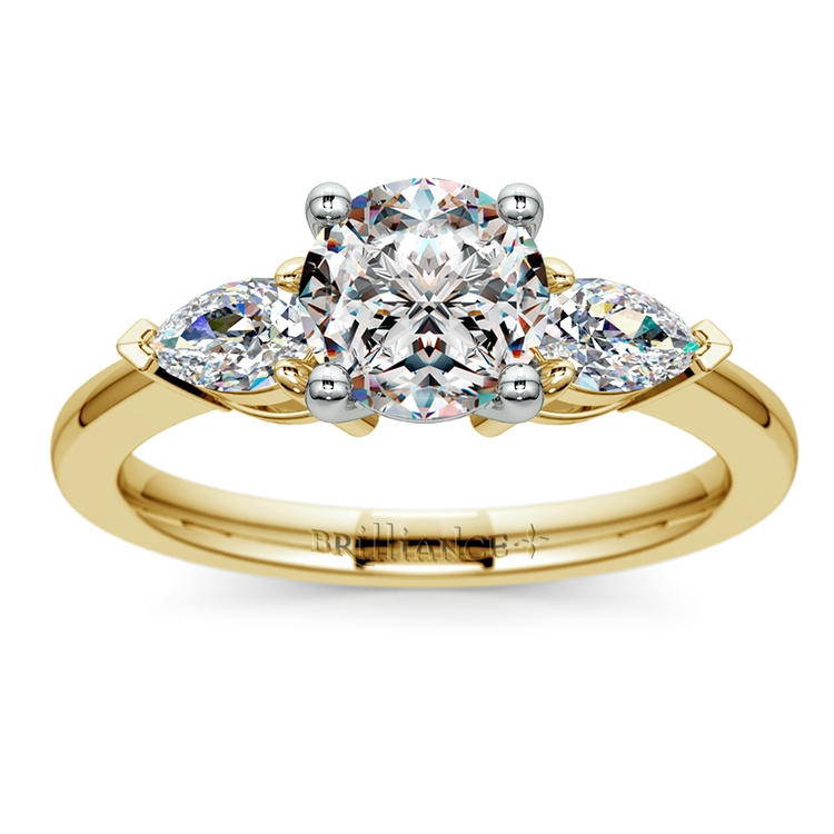 Pear Diamond Engagement Ring in Yellow Gold (1/2 ctw) | 01