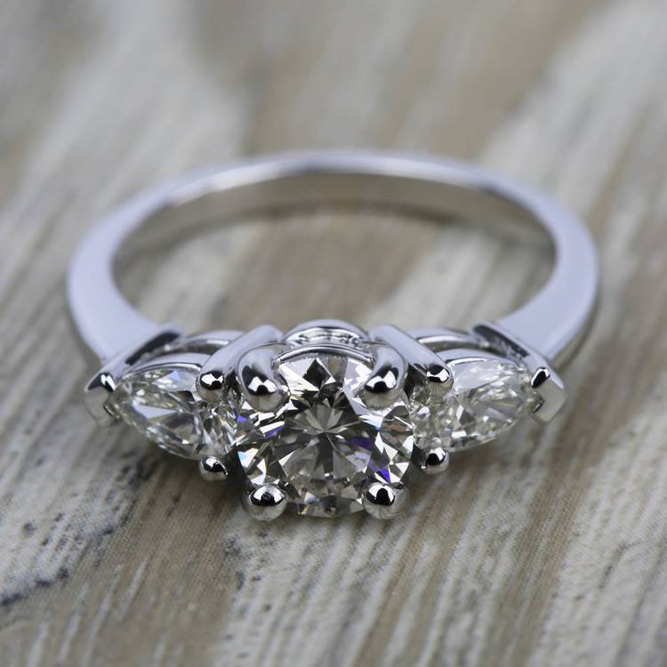 Pear Diamond Engagement Ring in White Gold (1/2 ctw) | 05