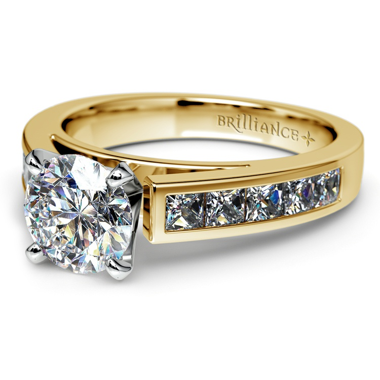 Princess Channel Diamond Engagement Ring in Yellow Gold (1/2 ctw) | 04