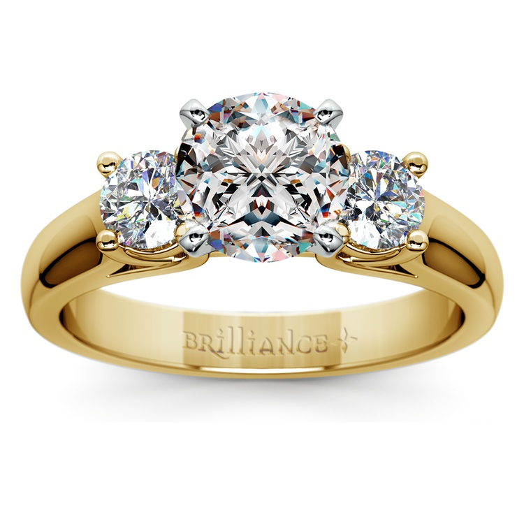 Round Diamond Engagement Ring in Yellow Gold (1/2 ctw) | 01