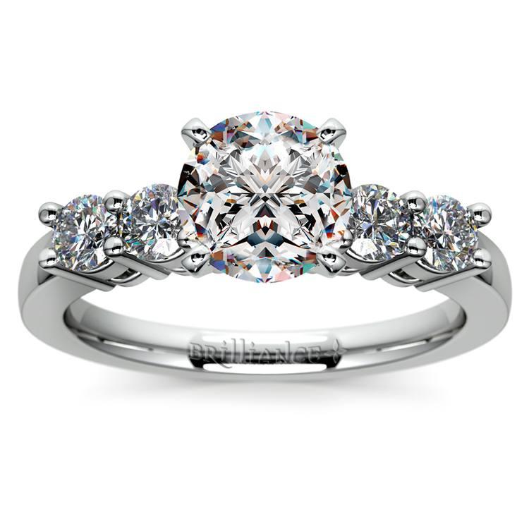 Round Five-Diamond Engagement Ring in Platinum (1/2 ctw)   01