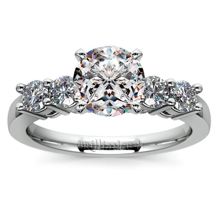 Round Five-Diamond Engagement Ring in White Gold (1/2 ctw) | 01