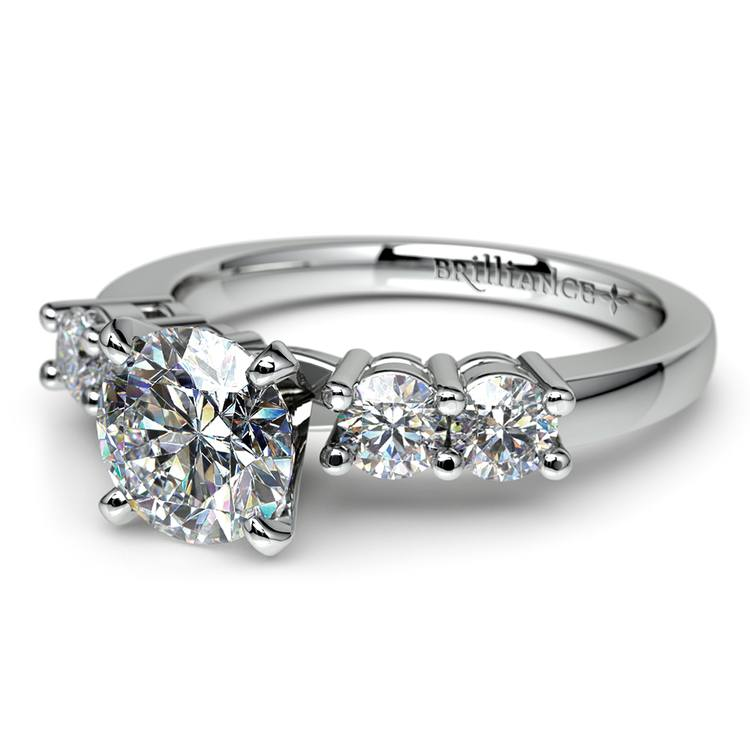 Round Five-Diamond Engagement Ring in White Gold (1/2 ctw) | 04