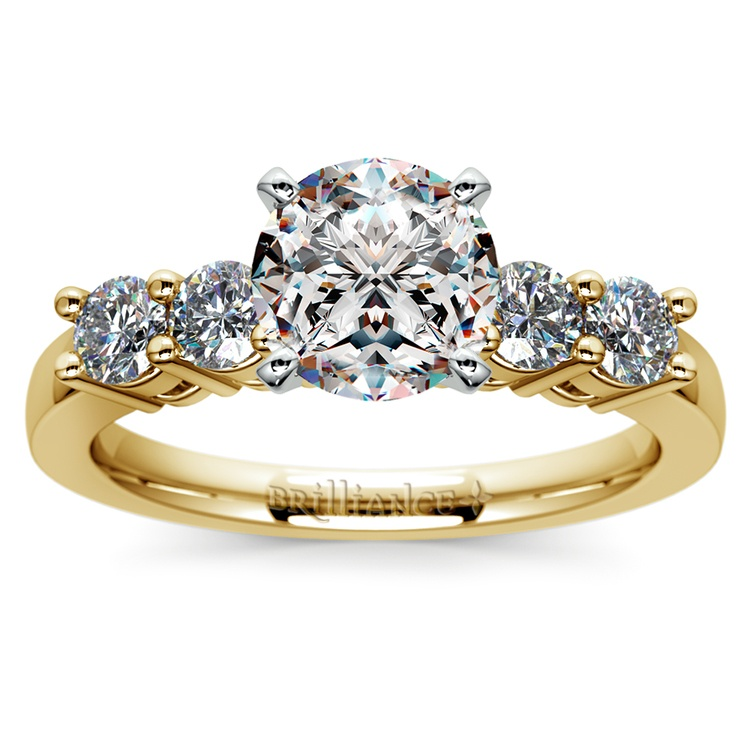 Round Five-Diamond Engagement Ring in Yellow Gold (1/2 ctw) | 01