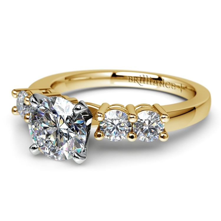 Round Five-Diamond Engagement Ring in Yellow Gold (1/2 ctw) | 04