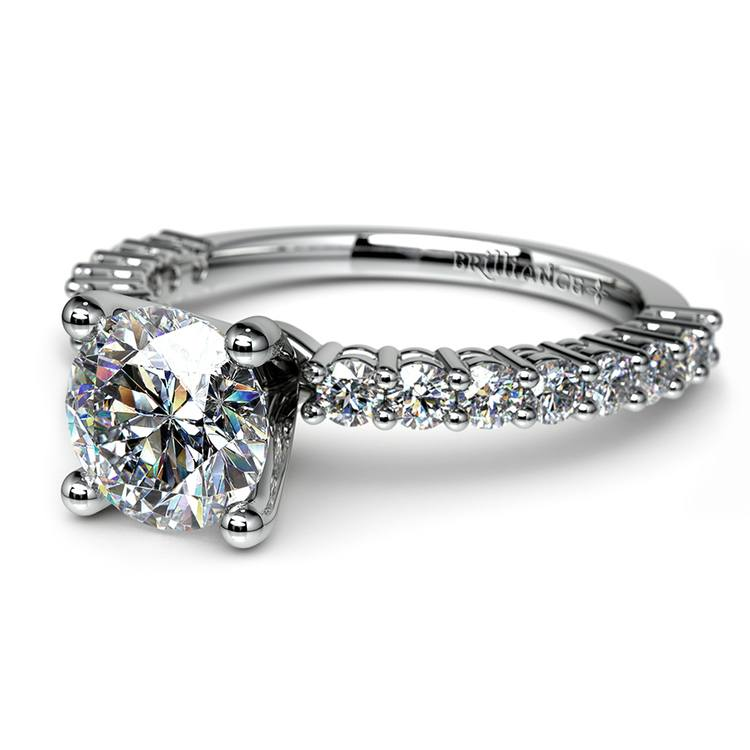 Shared Prong Diamond Engagement Ring in Platinum (1/2 ctw) | 04