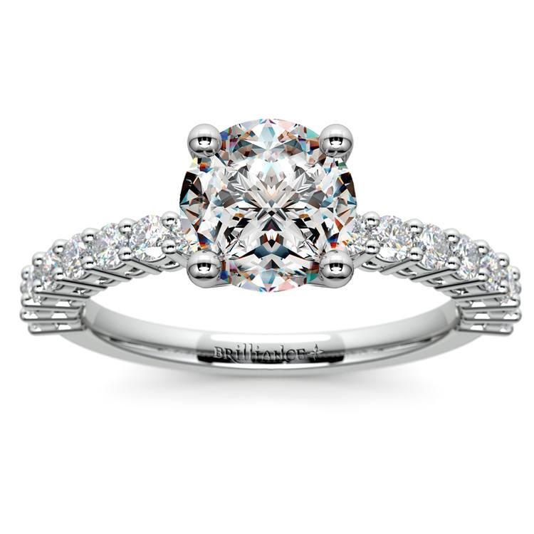 Shared Prong Diamond Engagement Ring in White Gold (1/2 ctw) | 01