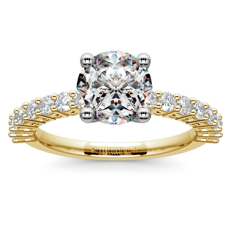 95494778901 Shared Prong Diamond Engagement Ring in Yellow Gold (1/2 ctw)